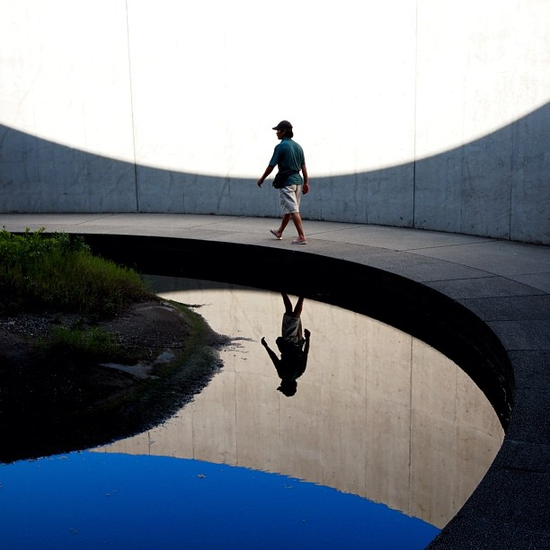 #arc. #blue #man #sky #pond